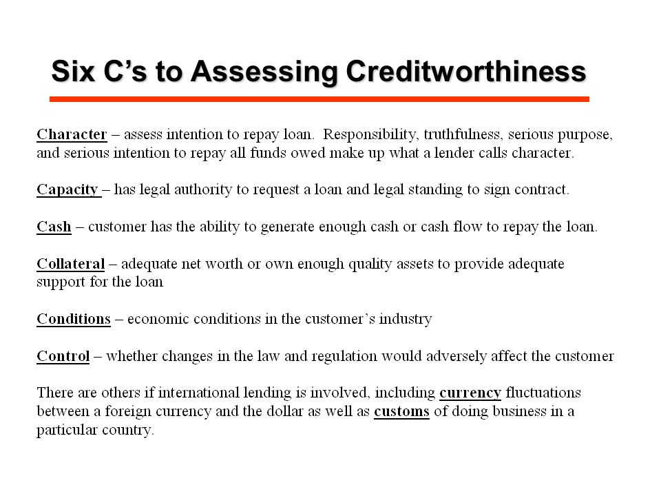 Six C's to Assessing Creditworthiness