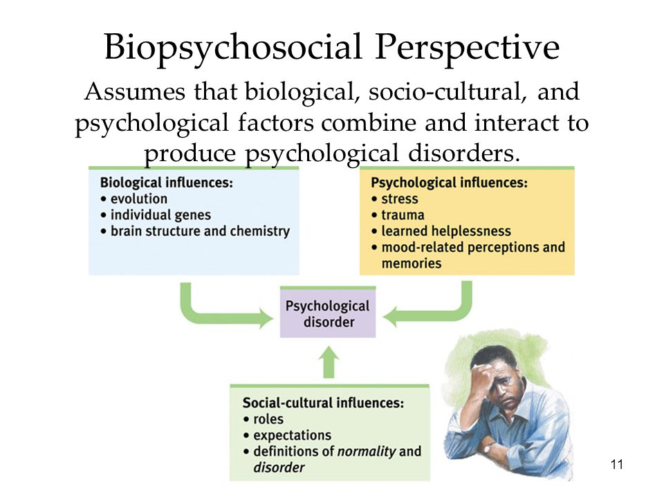 11 Biopsychosocial Perspective Assumes that biological, socio-cultural, and psychological factors combine and interact to produce psychological disorders.