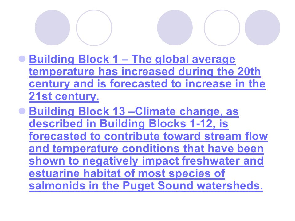 Building Block 1 – The global average temperature has increased during the 20th century and is forecasted to increase in the 21st century.