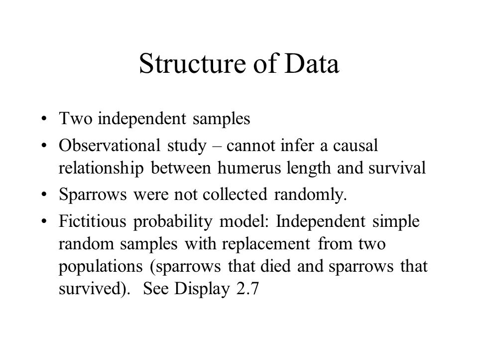 Structure of Data Two independent samples Observational study – cannot infer a causal relationship between humerus length and survival Sparrows were not collected randomly.