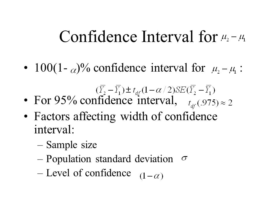 Confidence Interval for 100(1- )% confidence interval for : For 95% confidence interval, Factors affecting width of confidence interval: –Sample size –Population standard deviation –Level of confidence