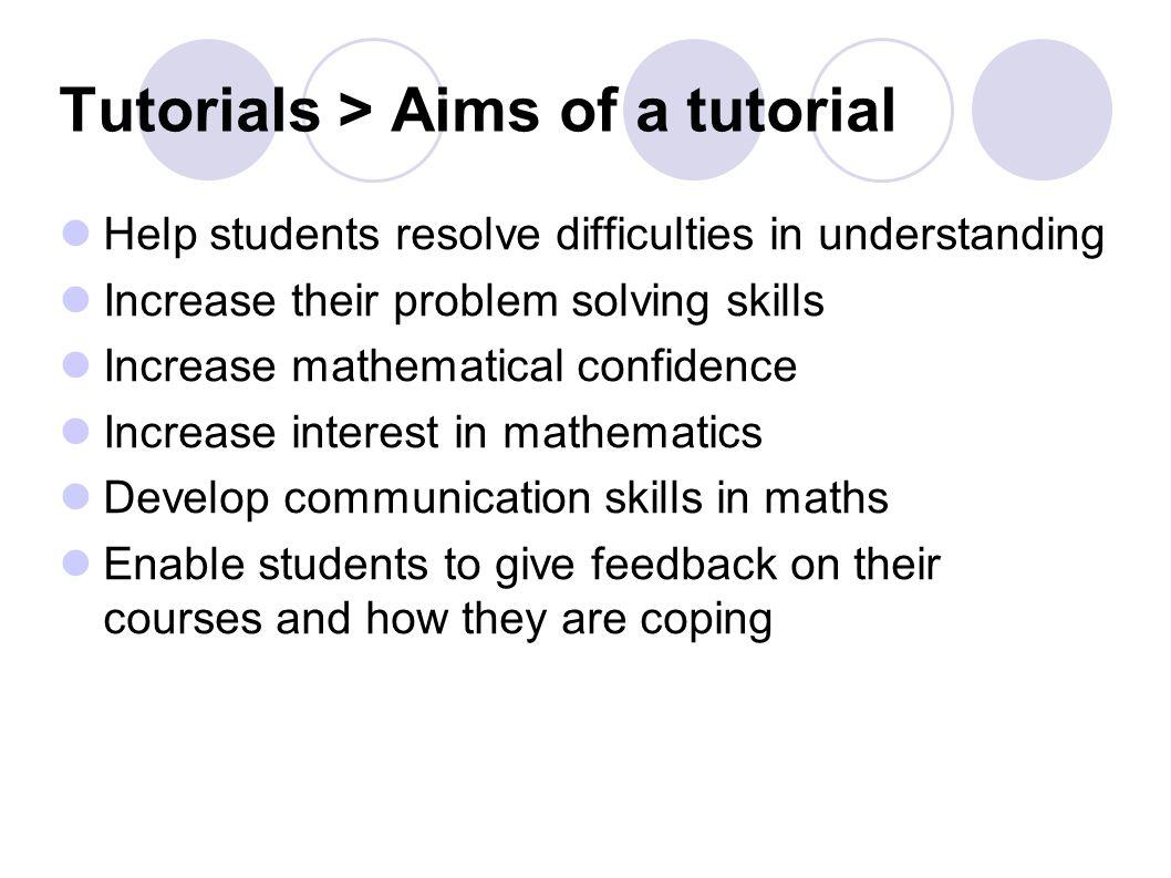 Teaching in Maths Background Marking Tutorials Practical information ...