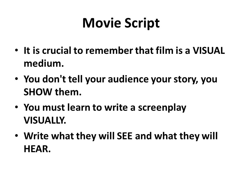 lights camera action movie script it is crucial to remember that