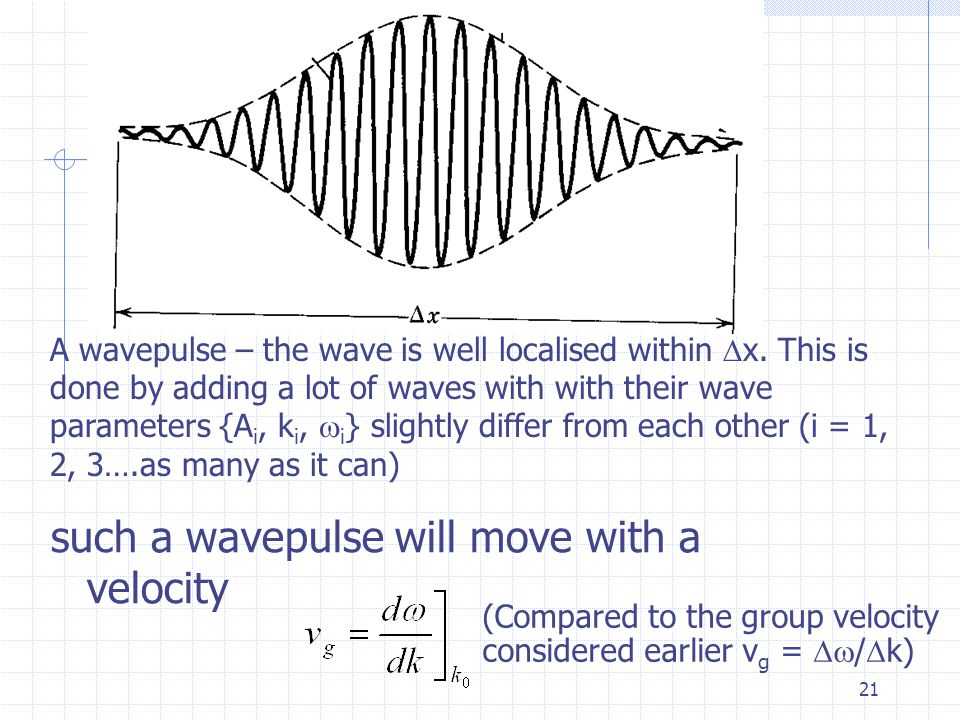 20 Wave pulse – an even more `localised' wave In the previous example, we add up only two slightly different wave to form a train of wave group An even more `localised' group wave – what we call a wavepulse can be constructed by adding more sine waves of different numbers k i and possibly different amplitudes so that they interfere constructively over a small region  x and outside this region they interfere destructively so that the resultant field approach zero