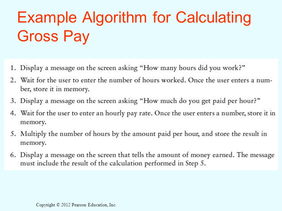 Copyright © 2012 Pearson Education, Inc. Example Algorithm for Calculating Gross Pay