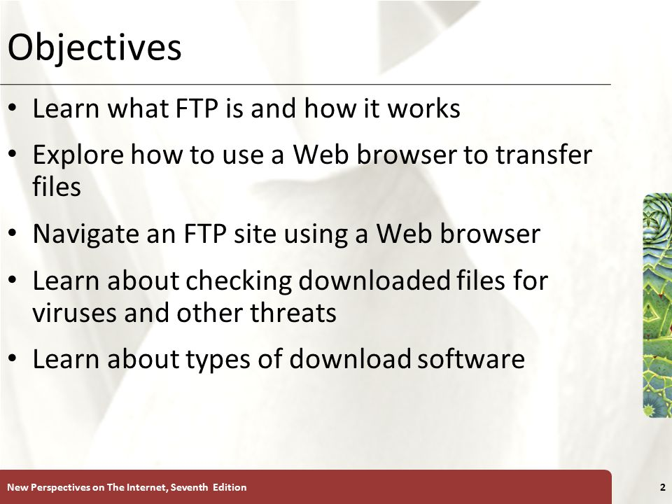 XP Objectives Learn what FTP is and how it works Explore how to use a Web browser to transfer files Navigate an FTP site using a Web browser Learn about checking downloaded files for viruses and other threats Learn about types of download software New Perspectives on The Internet, Seventh Edition2