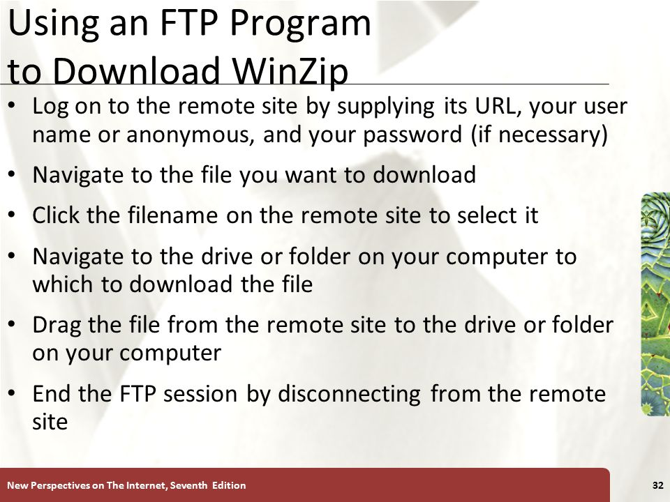 XP Using an FTP Program to Download WinZip Log on to the remote site by supplying its URL, your user name or anonymous, and your password (if necessary) Navigate to the file you want to download Click the filename on the remote site to select it Navigate to the drive or folder on your computer to which to download the file Drag the file from the remote site to the drive or folder on your computer End the FTP session by disconnecting from the remote site New Perspectives on The Internet, Seventh Edition32