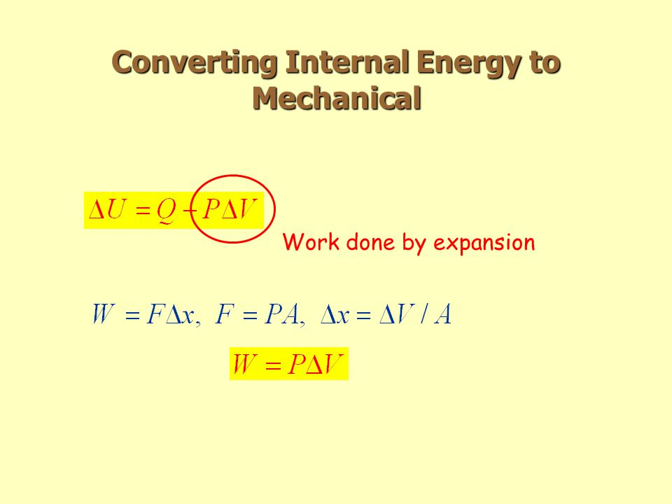 Converting Internal Energy to Mechanical Work done by expansion