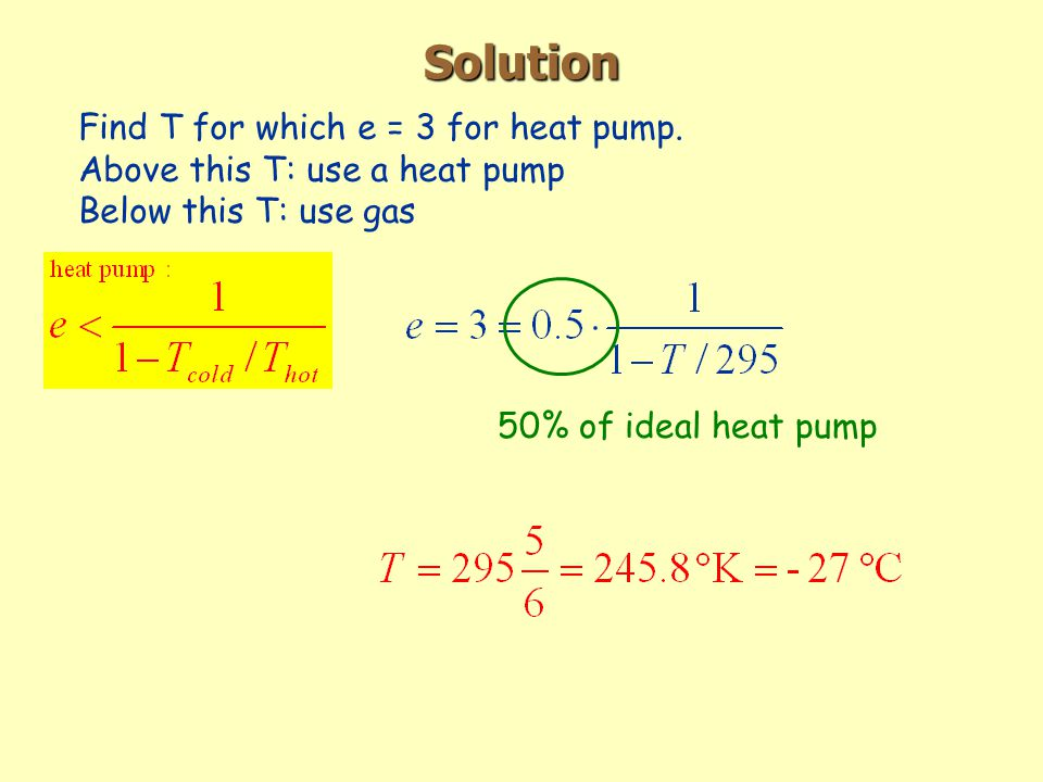 Solution Find T for which e = 3 for heat pump.