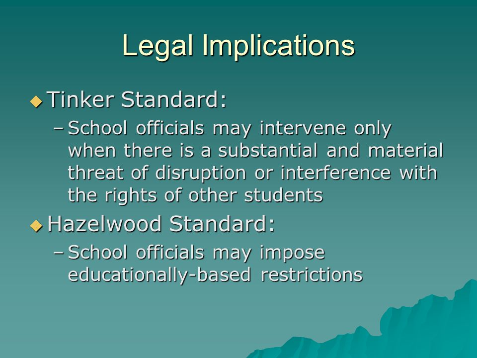 Legal Implications  Tinker Standard: –School officials may intervene only when there is a substantial and material threat of disruption or interference with the rights of other students  Hazelwood Standard: –School officials may impose educationally-based restrictions