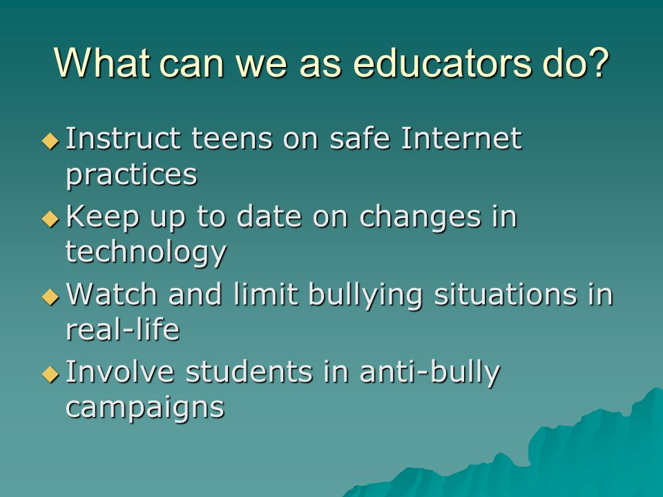 What can we as educators do.