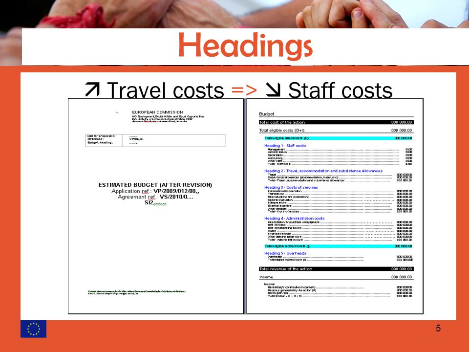 5  Travel costs =>  Staff costs Headings