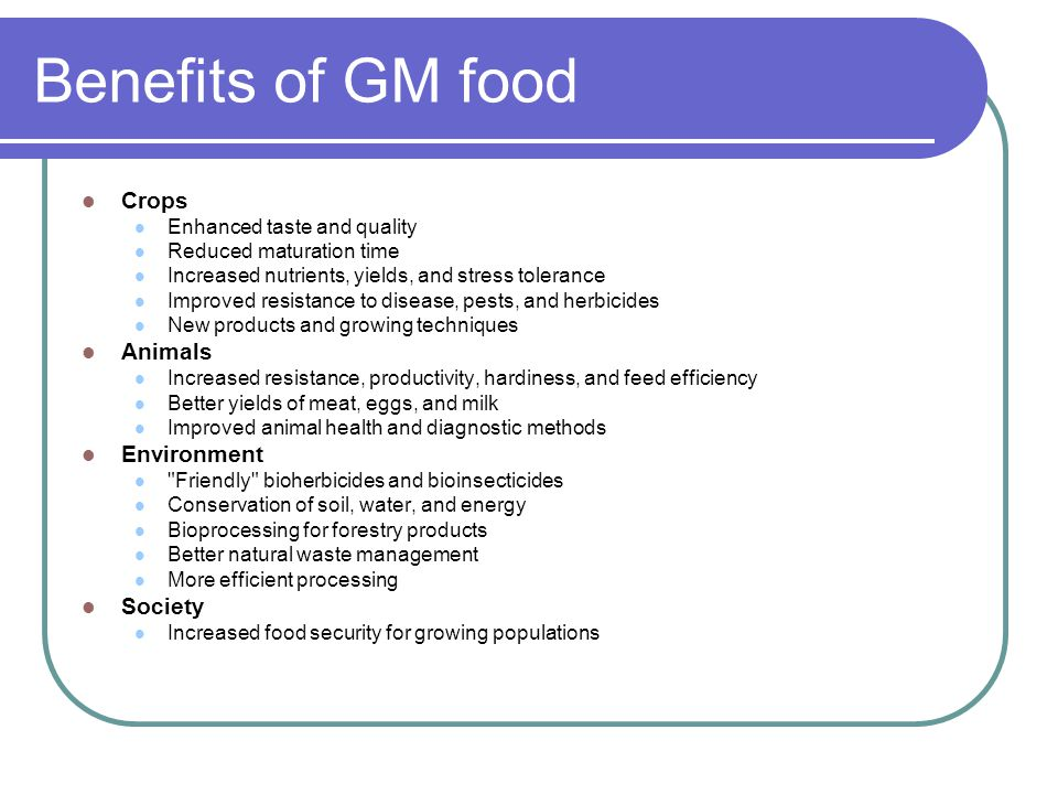 Benefits of GM food Crops Enhanced taste and quality Reduced maturation time Increased nutrients, yields, and stress tolerance Improved resistance to disease, pests, and herbicides New products and growing techniques Animals Increased resistance, productivity, hardiness, and feed efficiency Better yields of meat, eggs, and milk Improved animal health and diagnostic methods Environment Friendly bioherbicides and bioinsecticides Conservation of soil, water, and energy Bioprocessing for forestry products Better natural waste management More efficient processing Society Increased food security for growing populations