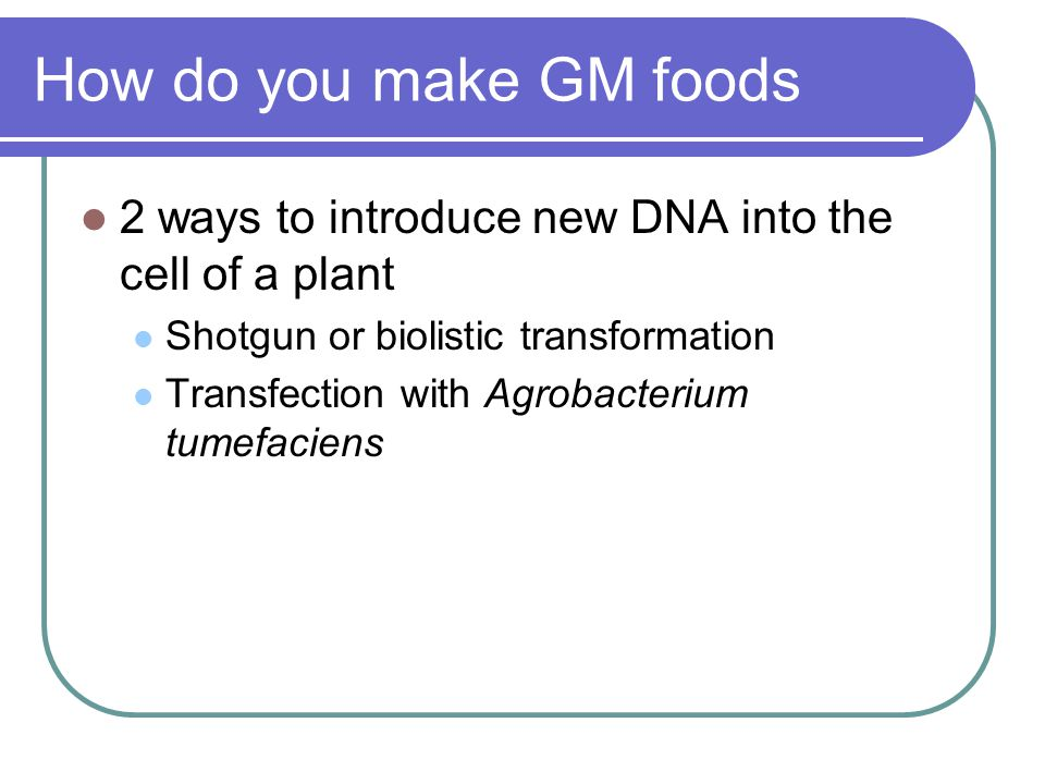 How do you make GM foods 2 ways to introduce new DNA into the cell of a plant Shotgun or biolistic transformation Transfection with Agrobacterium tumefaciens