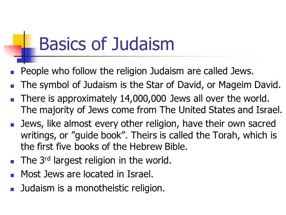 The Five Major Religions Basics Of Judaism People Who Follow The