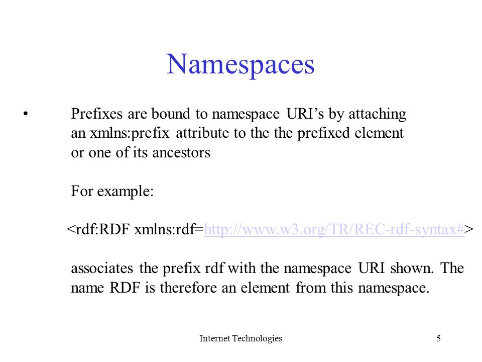 Internet Technologies5 Namespaces Prefixes Are Bound To Namespace URIs By Attaching An Xmlnsprefix Attribute