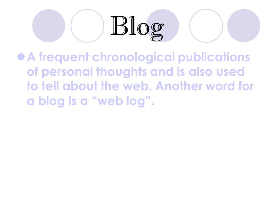 Blog A frequent chronological publications of personal thoughts and is also used to tell about the web.