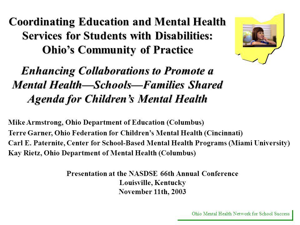 Ohio Mental Health Network For School Success Coordinating Education