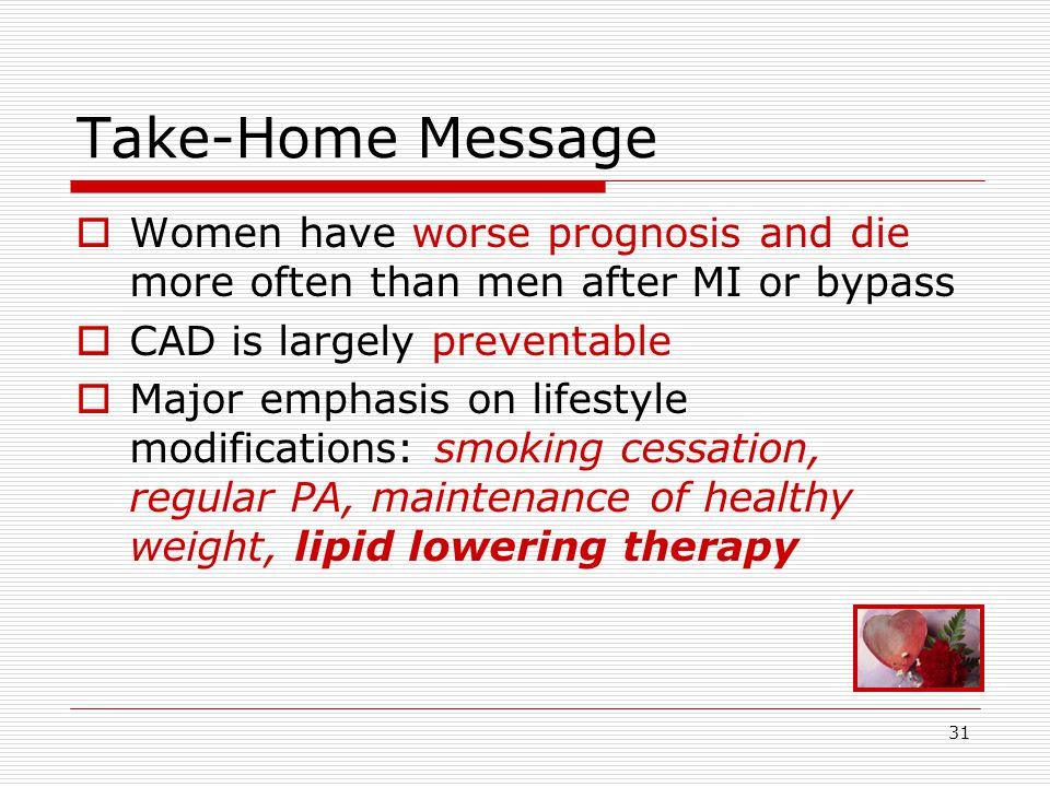 31 Take-Home Message  Women have worse prognosis and die more often than men after MI or bypass  CAD is largely preventable  Major emphasis on lifestyle modifications: smoking cessation, regular PA, maintenance of healthy weight, lipid lowering therapy