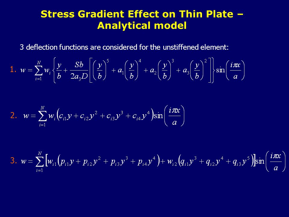 3 deflection functions are considered for the unstiffened element: Stress Gradient Effect on Thin Plate – Analytical model 1.