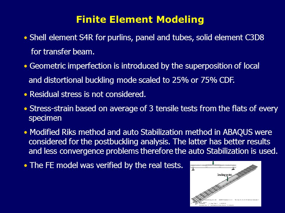 Finite Element Modeling Shell element S4R for purlins, panel and tubes, solid element C3D8 for transfer beam.