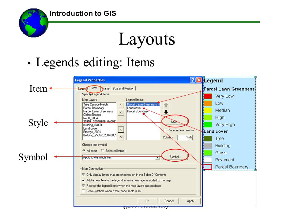 @2007 Austin Troy Layouts Introduction to GIS Legends editing: Items Item Style Symbol