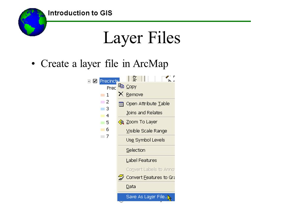 @2007 Austin Troy Layer Files Introduction to GIS Create a layer file in ArcMap