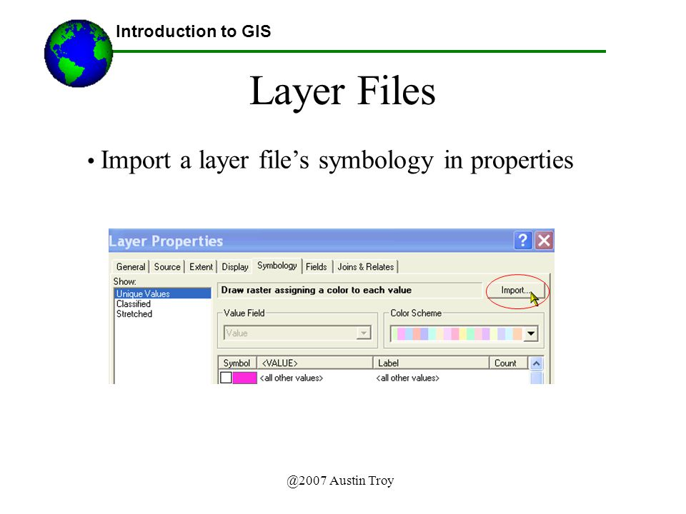 @2007 Austin Troy Layer Files Introduction to GIS Import a layer file's symbology in properties