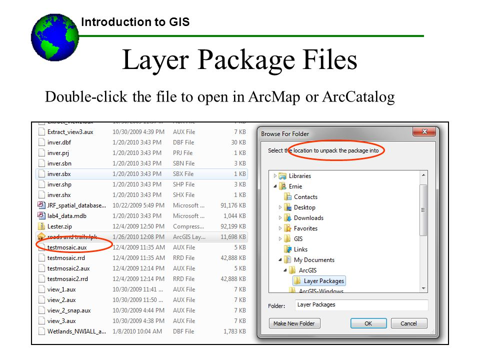 @2007 Austin Troy Layer Package Files Introduction to GIS Double-click the file to open in ArcMap or ArcCatalog