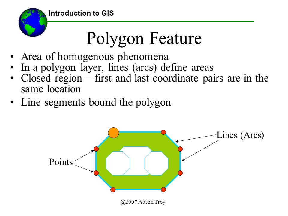 @2007 Austin Troy Polygon Feature Area of homogenous phenomena In a polygon layer, lines (arcs) define areas Closed region – first and last coordinate pairs are in the same location Line segments bound the polygon Introduction to GIS Lines (Arcs) Points