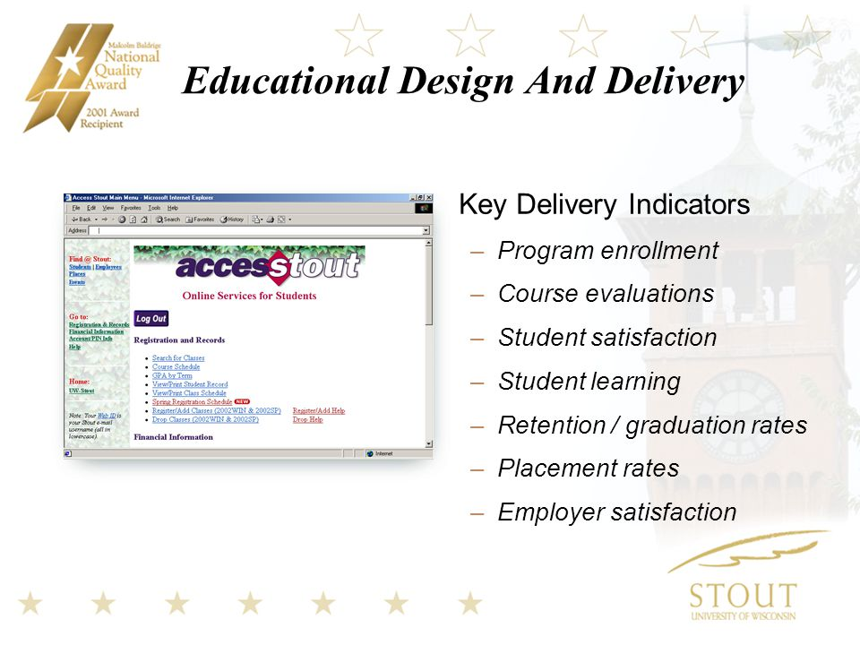 Educational Design And Delivery Key Delivery Indicators –Program enrollment –Course evaluations –Student satisfaction –Student learning –Retention / graduation rates –Placement rates –Employer satisfaction
