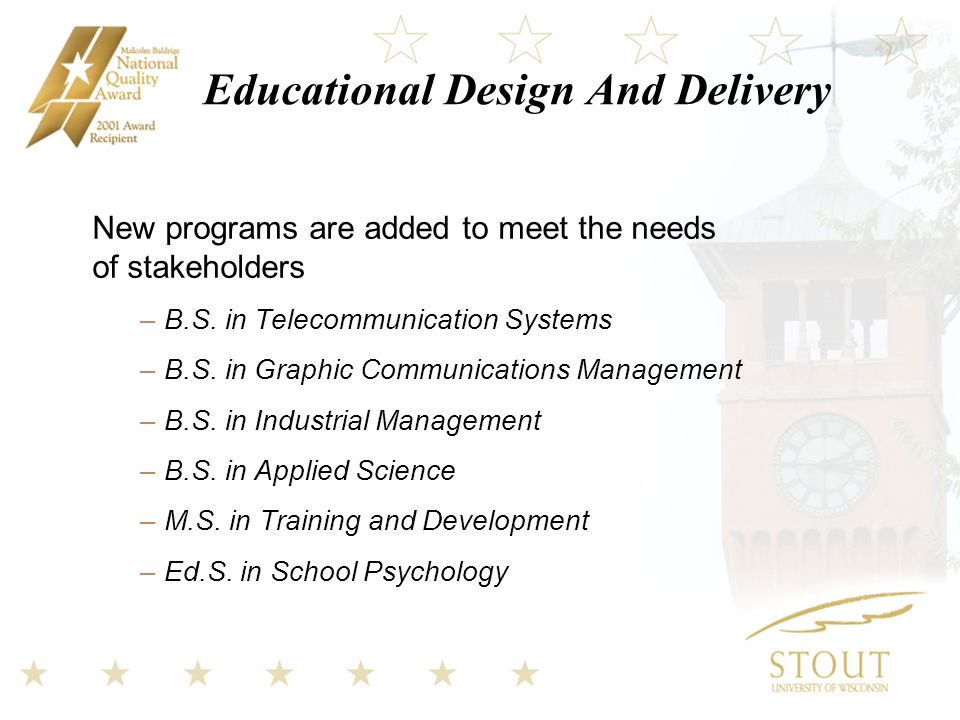 Educational Design And Delivery New programs are added to meet the needs of stakeholders –B.S.