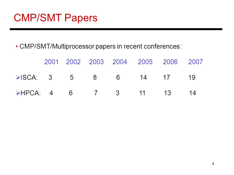 4 CMP/SMT Papers CMP/SMT/Multiprocessor papers in recent conferences:  ISCA:  HPCA: