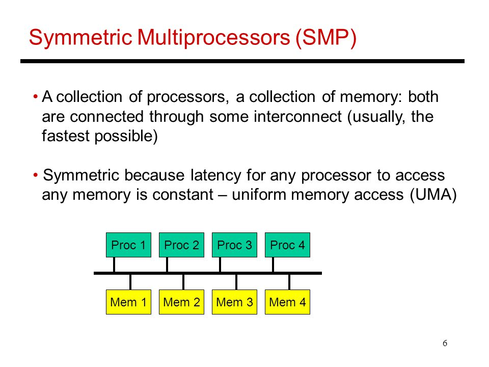 6 Symmetric Multiprocessors (SMP) A collection of processors, a collection of memory: both are connected through some interconnect (usually, the fastest possible) Symmetric because latency for any processor to access any memory is constant – uniform memory access (UMA) Proc 1Proc 2Proc 3Proc 4 Mem 1Mem 2Mem 3Mem 4
