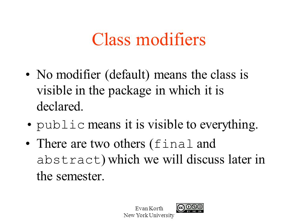 Evan Korth New York University Review (cont) What data type does a set method usually return.