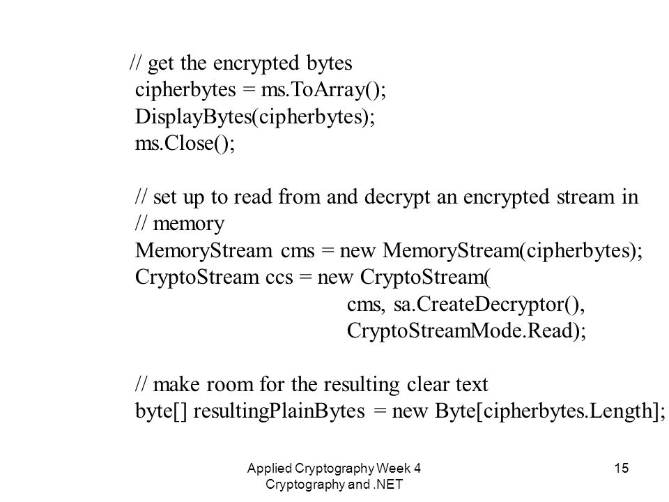 Applied Cryptography Week 4 Cryptography and NET 1 Applied