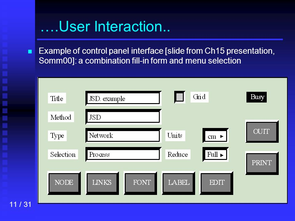 11 / 31 ….User Interaction..