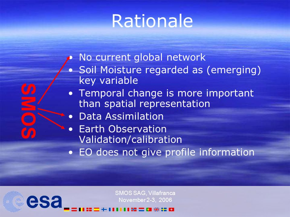 SMOS SAG, Villafranca November 2-3, 2006 Rationale No current global network Soil Moisture regarded as (emerging) key variable Temporal change is more important than spatial representation Data Assimilation Earth Observation Validation/calibration EO does not give profile information SMOS