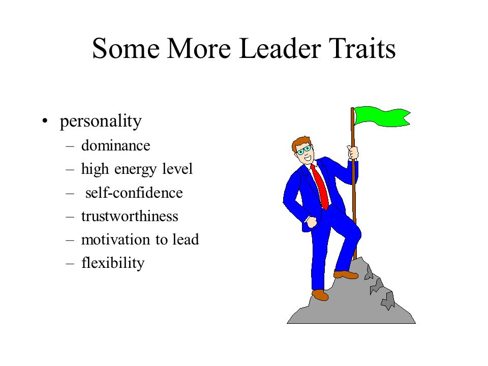 Some More Leader Traits personality –dominance –high energy level – self-confidence –trustworthiness –motivation to lead –flexibility