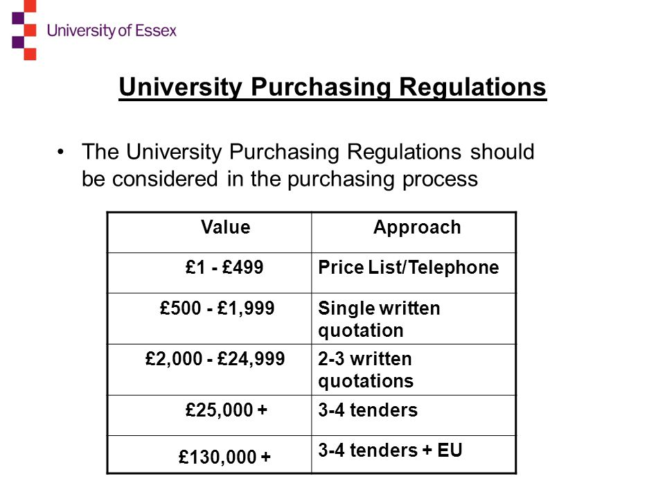 University Purchasing Regulations The University Purchasing Regulations should be considered in the purchasing process Value Approach £1 - £499Price List/Telephone £500 - £1,999Single written quotation £2,000 - £24, written quotations £25, tenders £130, tenders + EU