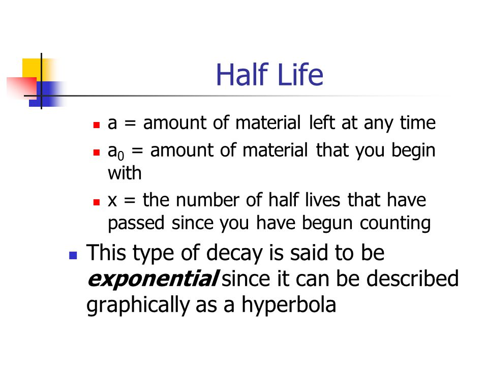 Half Life a = amount of material left at any time a 0 = amount of material that you begin with x = the number of half lives that have passed since you have begun counting This type of decay is said to be exponential since it can be described graphically as a hyperbola
