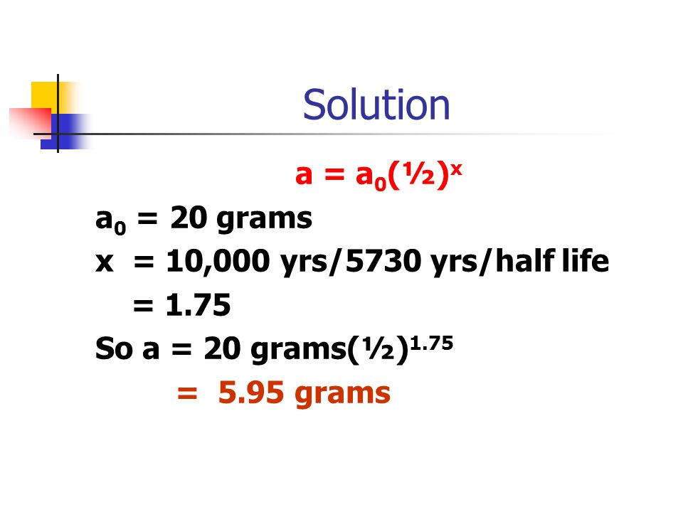 Solution a = a 0 (½) x a 0 = 20 grams x = 10,000 yrs/5730 yrs/half life = 1.75 So a = 20 grams(½) 1.75 = 5.95 grams