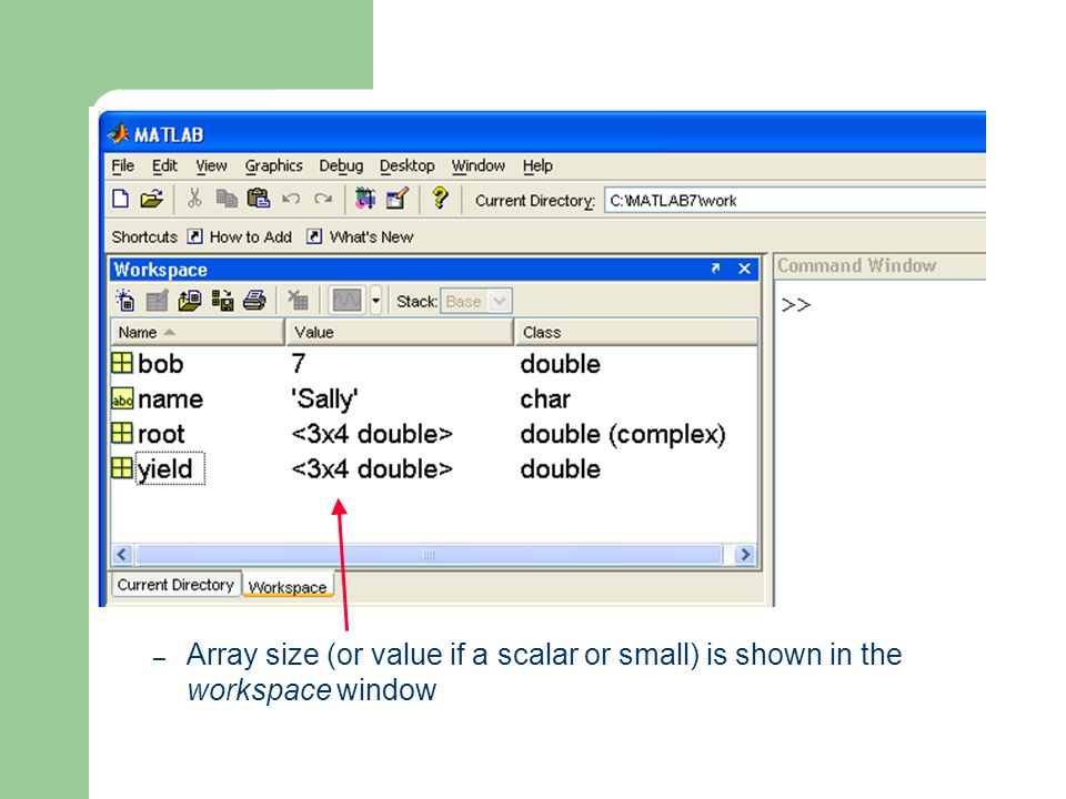 – Array size (or value if a scalar or small) is shown in the workspace window