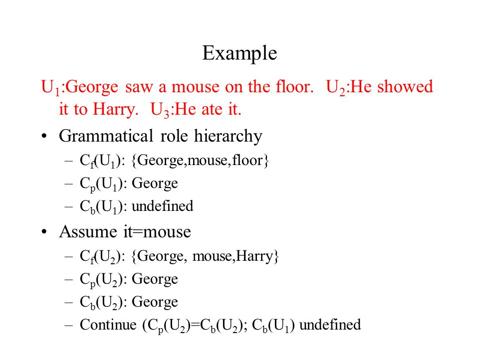 Example U 1 :George saw a mouse on the floor. U 2 :He showed it to Harry.