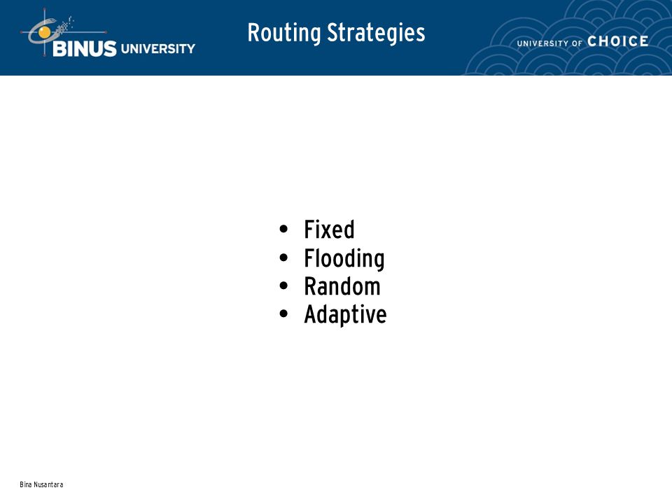 Bina Nusantara Routing Strategies Fixed Flooding Random Adaptive