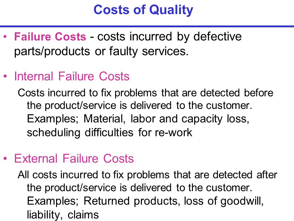 Failure Costs - costs incurred by defective parts/products or faulty services.