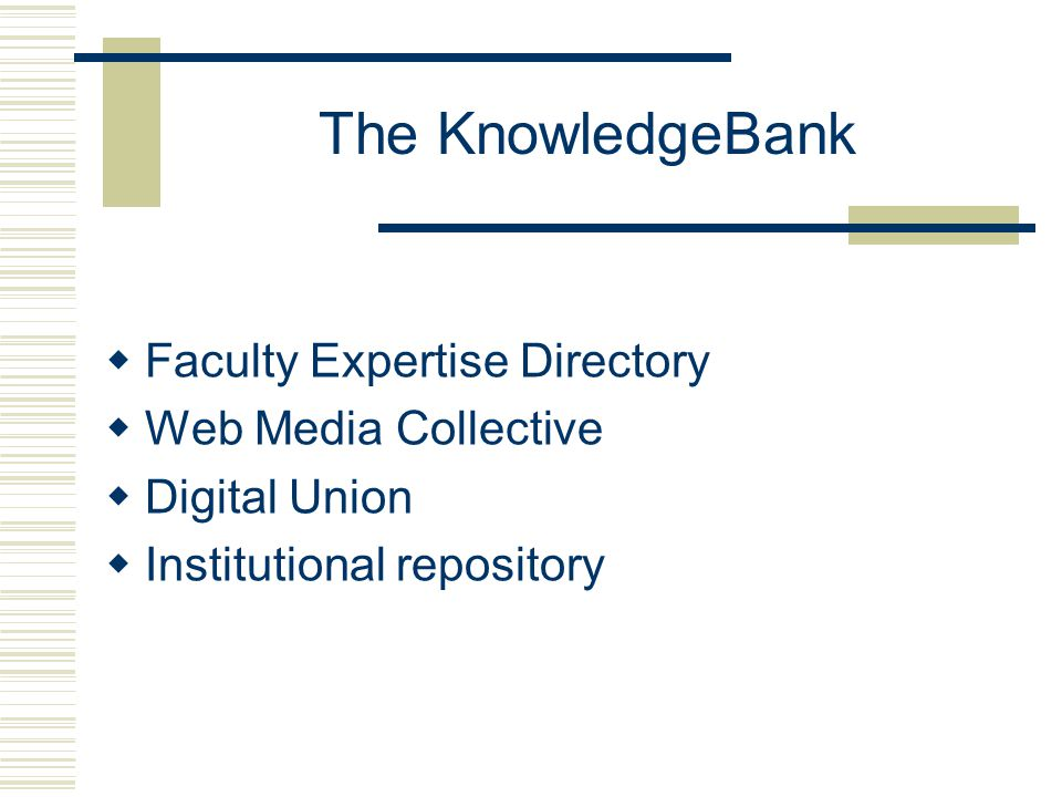 The KnowledgeBank  Faculty Expertise Directory  Web Media Collective  Digital Union  Institutional repository