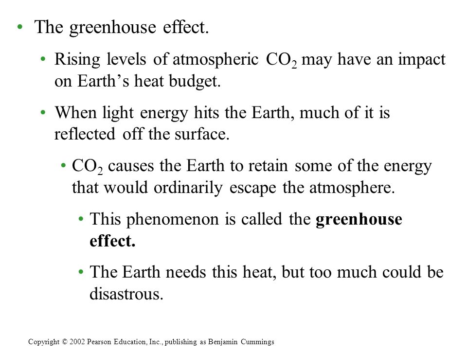 The greenhouse effect. Rising levels of atmospheric CO 2 may have an impact on Earth's heat budget.