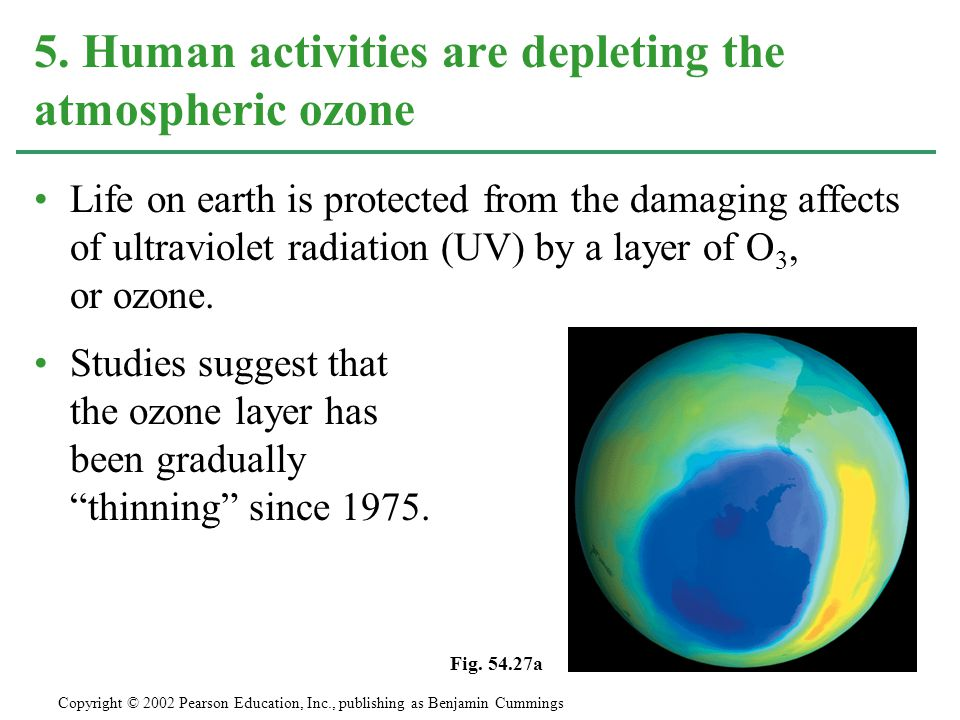Life on earth is protected from the damaging affects of ultraviolet radiation (UV) by a layer of O 3, or ozone.