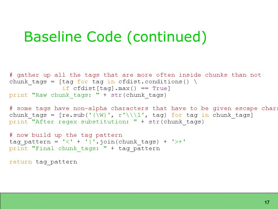 17 Baseline Code (continued)
